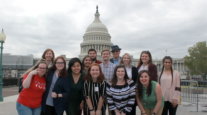 Students in front of Capitol Building in Washington, D.C.